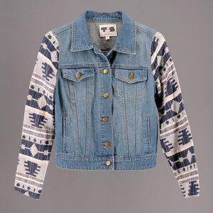 Boho Southwest Aztec Print Denim Jacket Size S